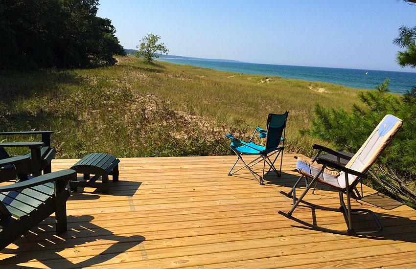 beachfront cottage deck with lake michigan views